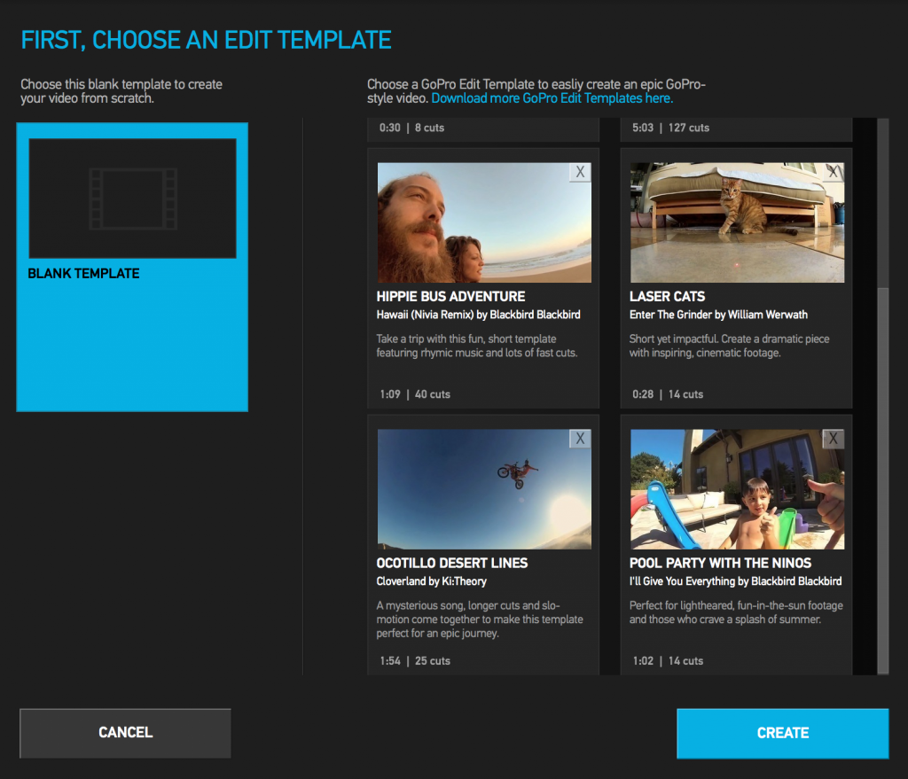 GoPro Studio Templates